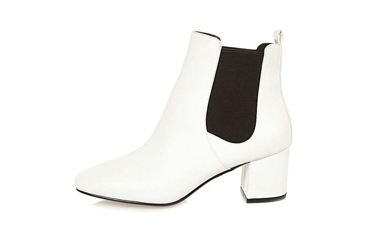 White Block Chelsea Boots