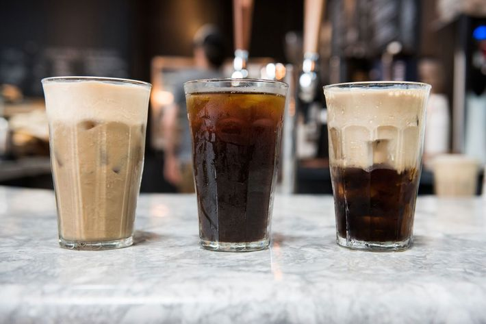 The draft latte, Pure Black cold brew, and a 50-50 mix.