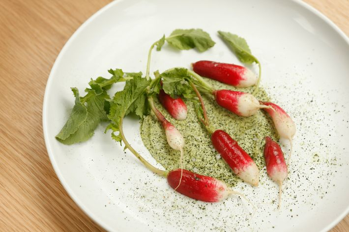 Radish with seaweed butter.