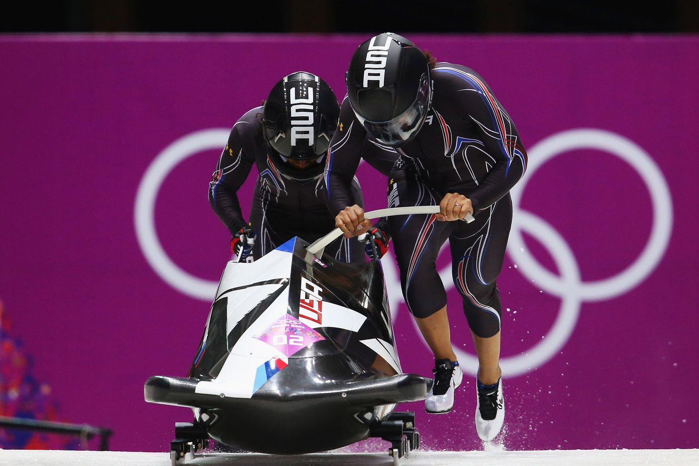 Elana Meyers and Lauryn Williams of the United States team 1 make a run during the Women's Bobsleigh heats on day 11 of the Sochi 2014 Winter Olympics at Sliding Center Sanki on February 18, 2014 in Sochi, Russia.