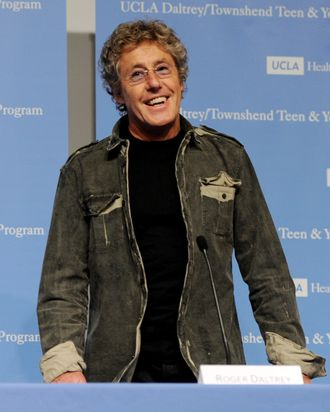 Singer Roger Daltrey appears at a press conference