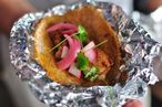 Lonestar Taco's tamarind-glazed pork belly taco.