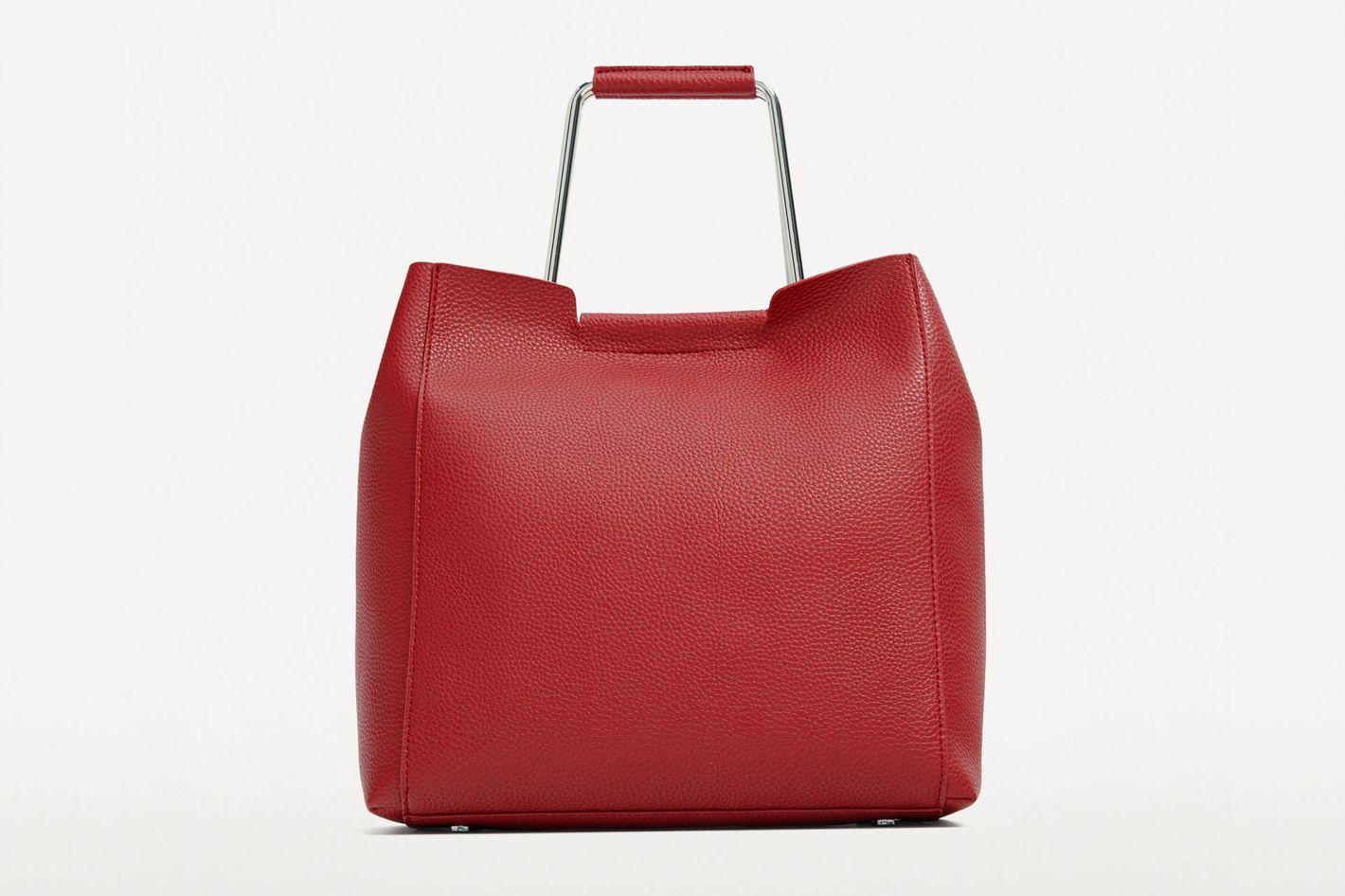 Zara Soft Tote Bag with Metallic Handles