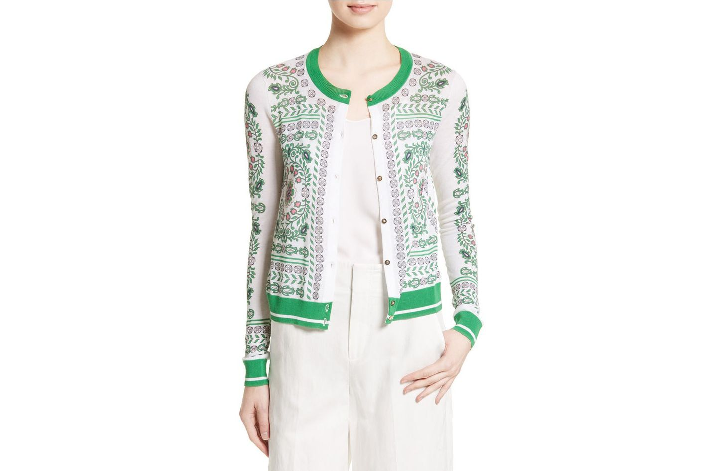 Tory Burch Greenfield Print Cardigan