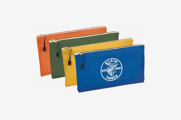 Klein Tools Utility Bag, Zipper Tool Bags in Olive, Orange, Blue, Yellow, 12.5-Inch Canvas