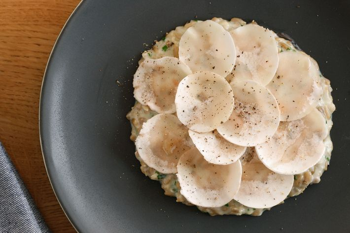 Sunflower-seed risotto with button mushrooms and Pecorino.
