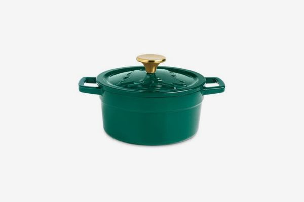 Martha Stewart Collection Two-Qt. Green Embossed Enameled Cast-Iron Dutch Oven