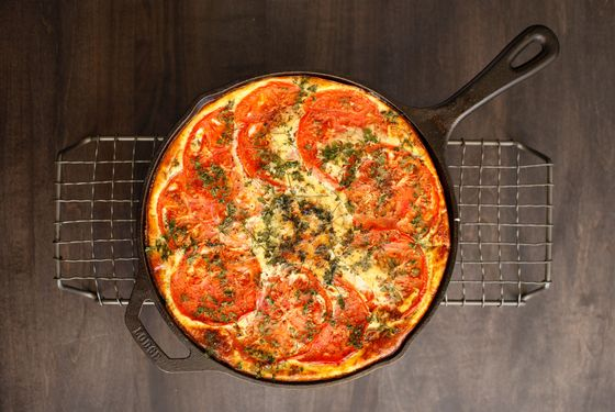 Tomato, cheddar, and caramelized onion frittata.