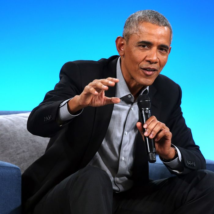 Former U.S. President Barack Obama speaks to attendees at the second Obama Foundation summit at the Mariott Marquis hotel in Chicago on November 19, 2018.