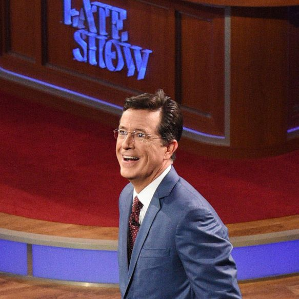 Stephen Colbert during the premiere episode of The Late Show with Stephen Colbert, Tuesday Sept. 8, 2015 on the CBS Television Network. Photo: Jeffrey R. Staab/CBS ©2015 CBS Broadcasting Inc. All Rights Reserved