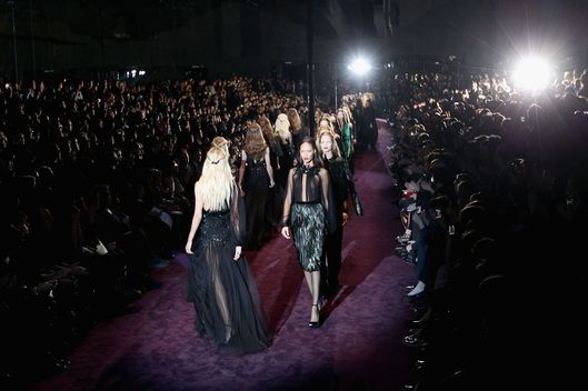 Models walk the runway at the Gucci Autumn/Winter 2012/2013 fashion show as part of Milan Womenswear Fashion Week