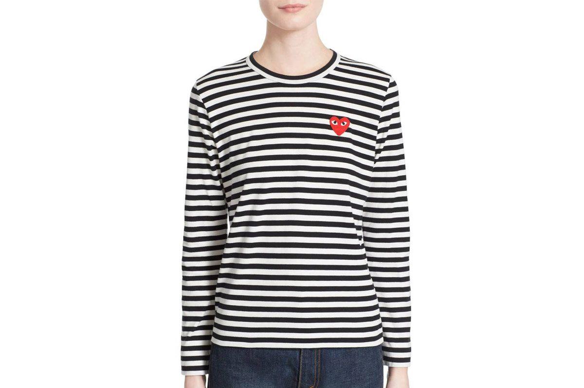 """Comme Des Garçons """"Play"""" Stripe Cotton Tee"""