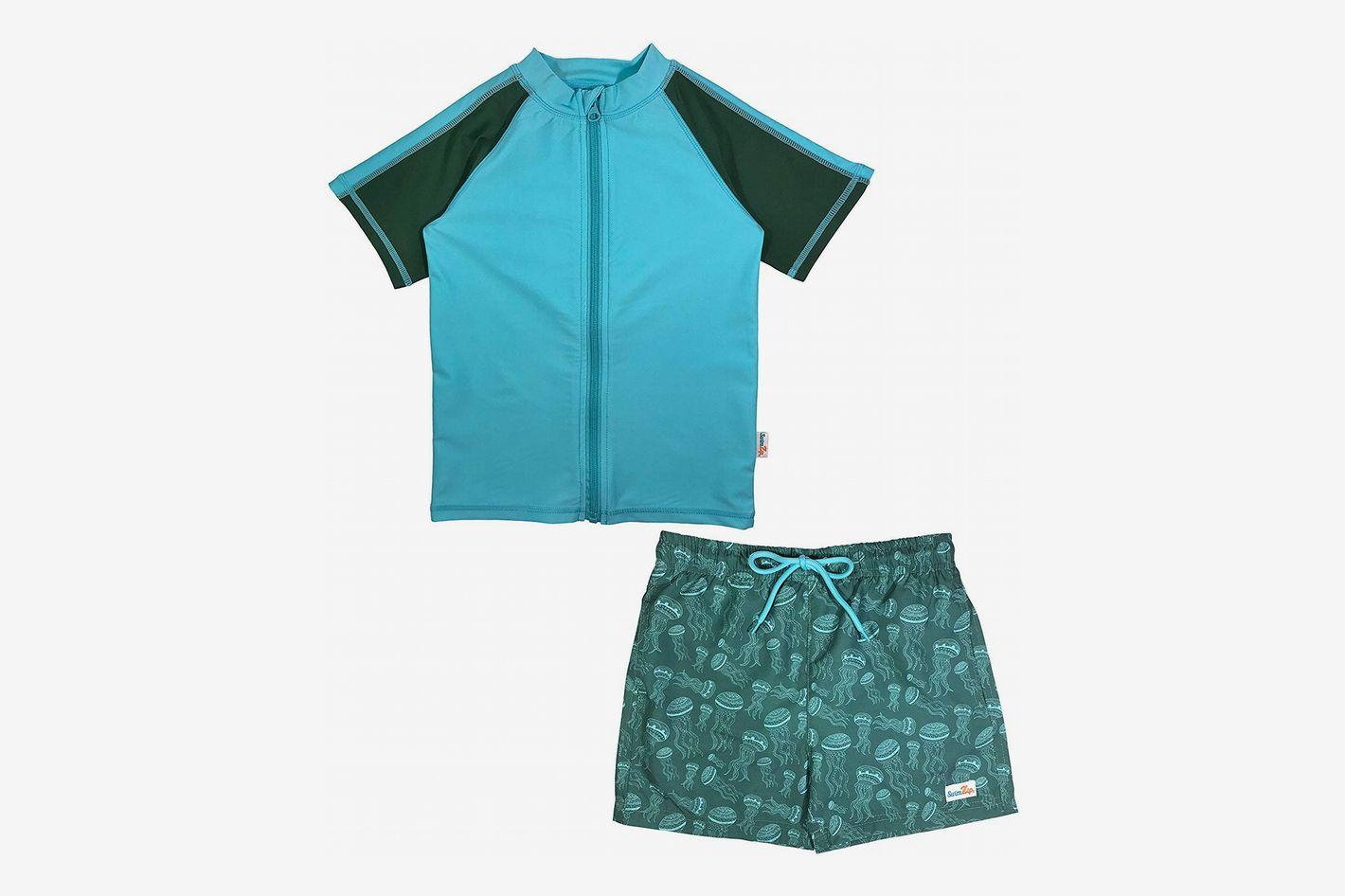 SwimZip Boys UPF 50+ Short Sleeve Rash Guard Swim Trunk Set