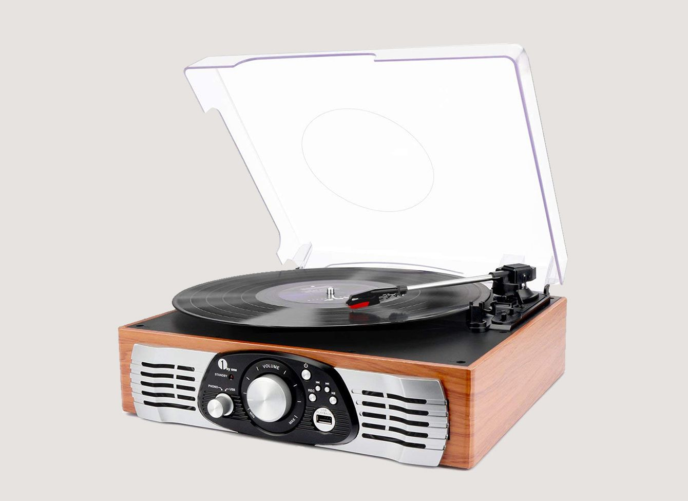 1byone Belt-Drive 3-Speed Stereo Turntable With Built-in Speakers, Natural Wood