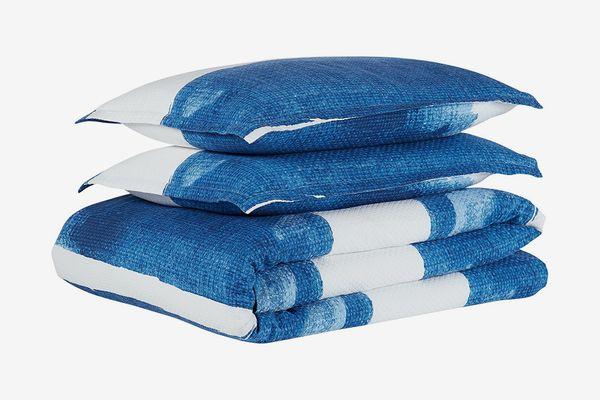 Rivet Modern Shibori Watercolor Gaurmet-Washed Stripe Full/Queen Duvet Cover Set