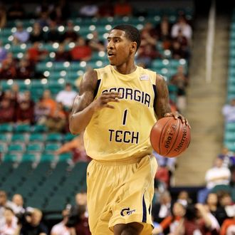GREENSBORO, NC - MARCH 10: Iman Shumpert #1 of the Georgia Tech Yellow Jackets dribbles down the court during the second half of the game against the Virginia Tech Hokies in the first round of the 2011 ACC men's basketball tournament at the Greensboro Coliseum on March 10, 2011 in Greensboro, North Carolina. (Photo by Streeter Lecka/Getty Images)