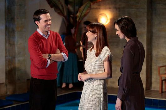 "THE OFFICE -- ""Pool Party"" Episode 812 -- Pictured: (l-r) Ed Helms as Andy Bernard, Ellie Kemper as Kelly Erin Hannon, Eleanor Seigler as Jessica."