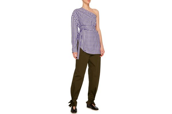 Rosetta Getty One-Shoulder Gingham Cotton Blouse