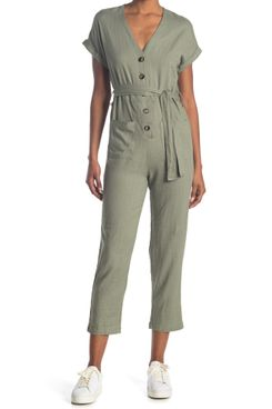 Bishop + Young Flynn Belted Button Front Jumpsuit