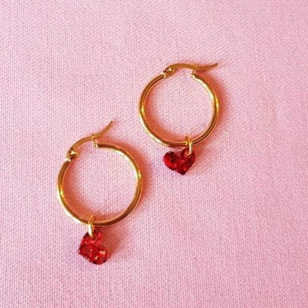 Heart Tiny Hoop Earrings