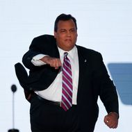 TAMPA, FL - AUGUST 28: New Jersey Gov. Chris Christie takes the stage to deliver the keynote address during the Republican National Convention at the Tampa Bay Times Forum on August 28, 2012 in Tampa, Florida. Today is the first full session of the RNC after the start was delayed due to Tropical Storm Isaac. (Photo by Mark Wilson/Getty Images)