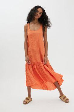 UO Claudia Plisse Maxi Dress