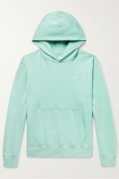 Adidas Original Adicolor Premium Logo-Appliquéd Organic Loopback Cotton-Jersey Hoodie
