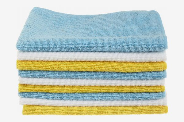 AmazonBasics Blue and Yellow Microfiber Cleaning Cloth, 24-Pack