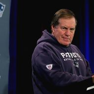 CHANDLER, AZ - JANUARY 29:  Head coach Bill Belichick of the New England Patriots speaks to the media during the New England Patriots Super Bowl XLIX Media Availability on January 29, 2015 at the Sheraton Wild Horse Pass in Chandler, Arizona.  (Photo by Elsa/Getty Images)