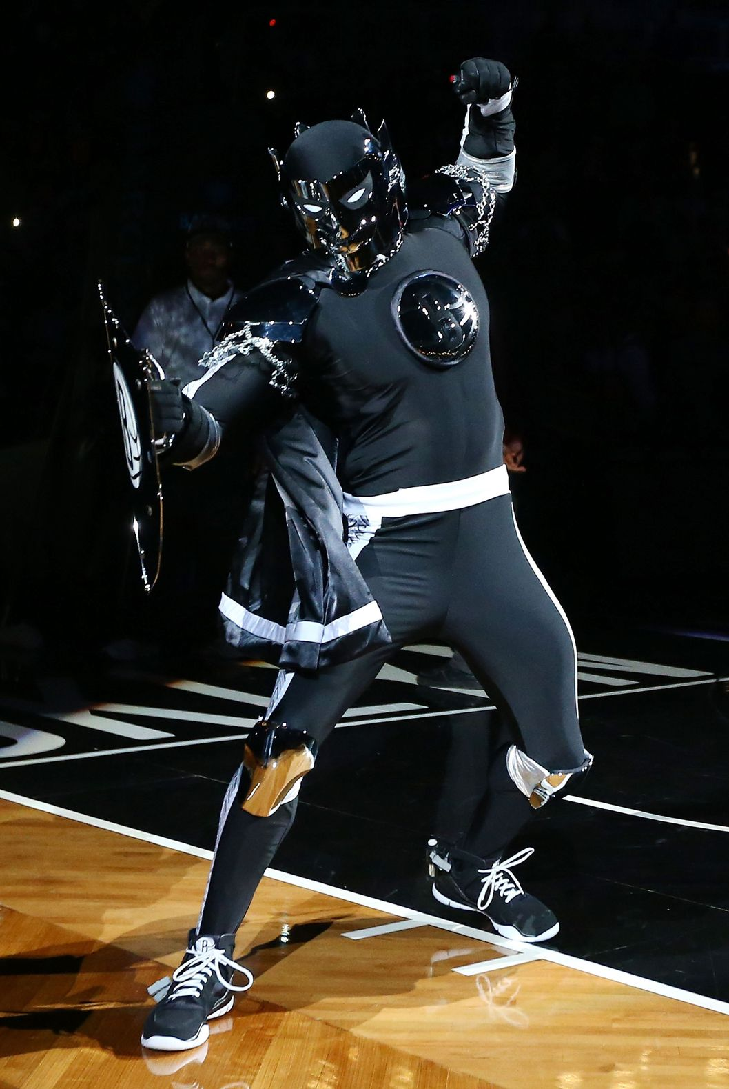 NEW YORK, NY - NOVEMBER 03:  (NEW YORK DAILIES OUT)  The 'Brooklyn Knight', mascot of the Brooklyn Nets , is introduced before a game against the Toronto Raptors at the Barclays Center on November 3, 2012 in the Brooklyn borough of New York City.The Nets defeated the Raptors 107-100 to win the first regular season game to be played at the new Barclays Center. NOTE TO USER: User expressly acknowledges and agrees that, by downloading and/or using this Photograph, user is consenting to the terms and conditions of the Getty Images License Agreement.  (Photo by Jim McIsaac/Getty Images)