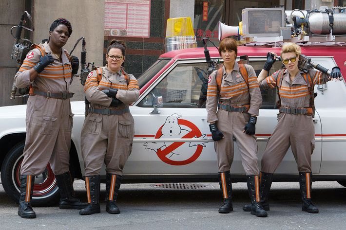 Some of the cast from the upcoming <em>Ghostbusters</em> movie.