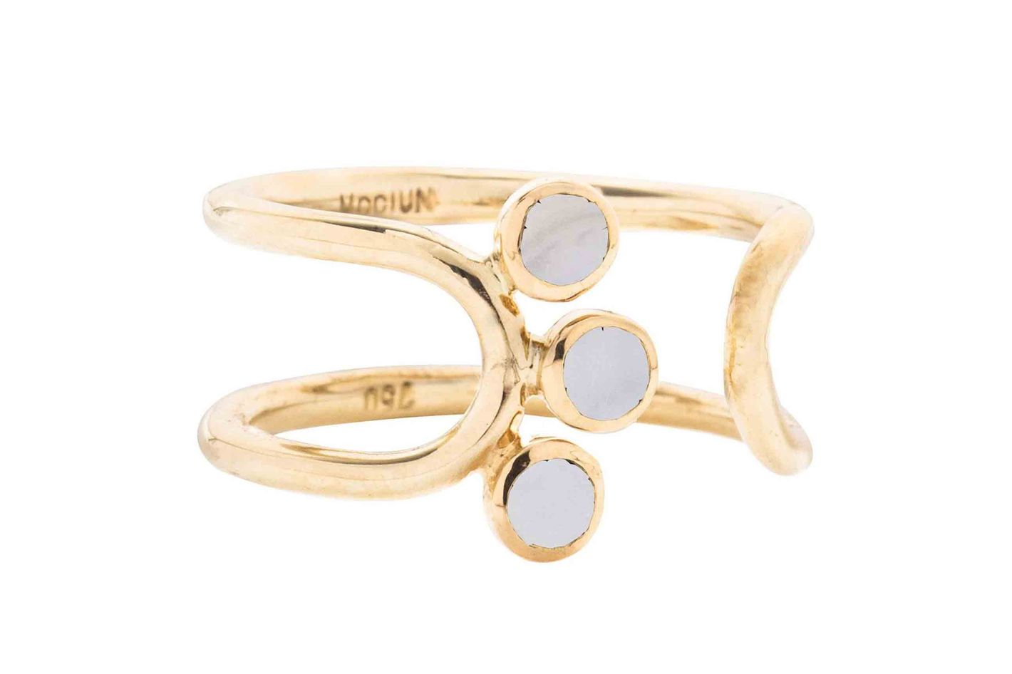 "Mociun ""Triplet"" Moonstone Open Ring"