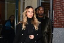 NEW YORK, NY - NOVEMBER 25:  Kim Kardashian and Kayne West are seen in Soho on November 25, 2013 in New York City.  (Photo by Raymond Hall/FilmMagic)