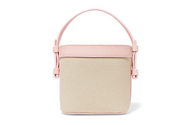 NICO GIANI Adenia mini leather-trimmed cotton-canvas bucket bag