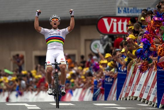 Norway's world road champion Thor Hushovd celebrates on the finish line as he wins the 152,5 km and thirteenth stage Yf the 2011 Tour de France cycling race run between Pau and Lourdes, southwestern France, on July 15 , 2011.  AFP PHOTO / LIONEL BONAVENTURE (Photo credit should read LIONEL BONAVENTURE/AFP/Getty Images)