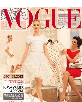 <em>Vogue</em> Italia's January 2012 cover.