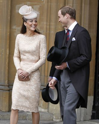 LONDON, UNITED KINGDOM - JUNE 05: Catherine, Duchess of Cambridge and Prince William, Duke of Cambridge leave Westminster Hall after a Diamond Jubilee Luncheon given for The Queen by The Livery Companies of The City of London on June 5, 2012 in London, England. For only the second time in its history the UK celebrates the Diamond Jubilee of a monarch. Her Majesty Queen Elizabeth II celebrates the 60th anniversary of her ascension to the throne today with a carriage procession and a service of thanksgiving at St Paul's Cathedral. (Photo by Peter Byrne - WPA Pool/Getty Images)
