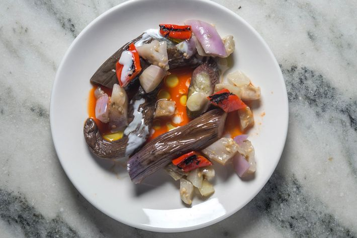 Eggplant with pepper broth.