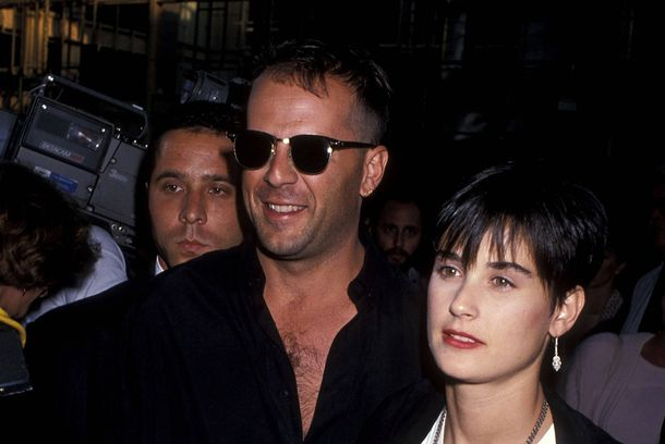 "Actor Bruce Willis and actress Demi Moore attend the ""When Harry Met Sally"" Beverly Hills Premiere on July 13, 1989 at the Samuel Goldwyn Theatre in Beverly Hills, California."