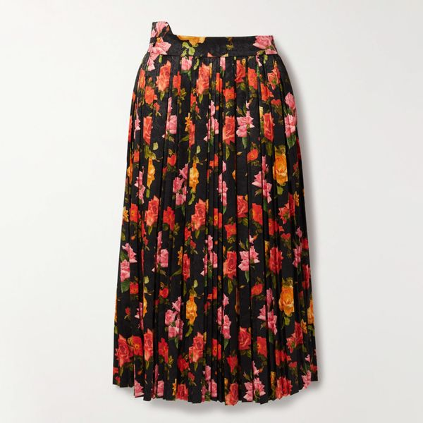 Commission Fanny Pleated Floral-Print Satin-Jacquard Midi Skirt