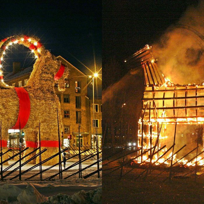 GAEVLE, SWEDEN: A composite photo of the Christmas straw goat, torched by vandals in Gaevle, Sweden, Tuesday, Dec. 21, 2004. The goats, erected by local merchants for Christmas, has only made it through the holiday season ten times without being burnt since since 1966.