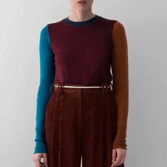 Partow Amira Sweater Burgundy Combo