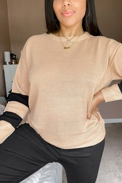 Brave Soul Plus Boston Sleeve Stripe Sweater