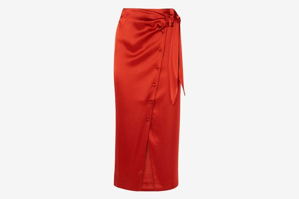 Nanushka Aries Belted Satin Midi Skirt