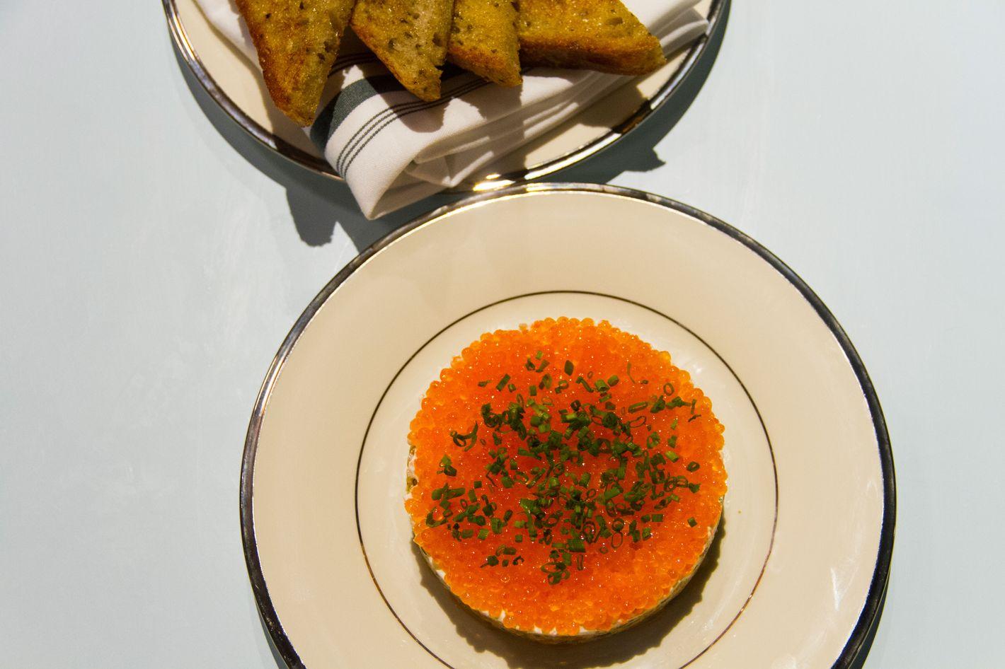 Salmon rillettes with crème fraîche and trout roe.