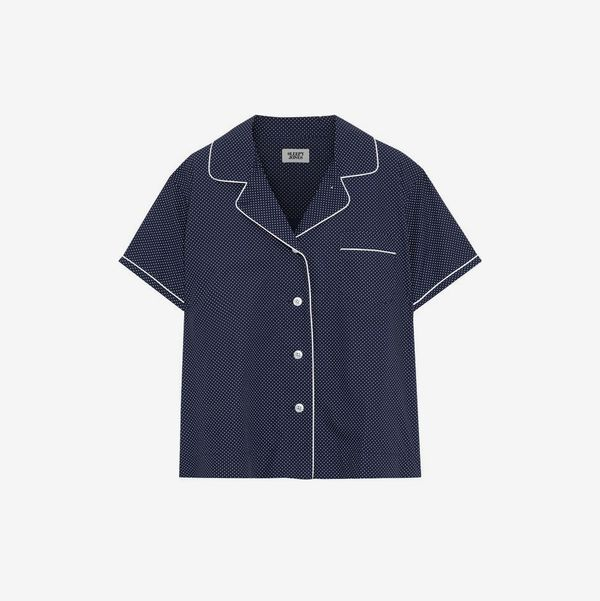 Corita Polka-Dot Cotton Pajama Top - strategist best corita short sleeve blue polka dot pajama top with white trim