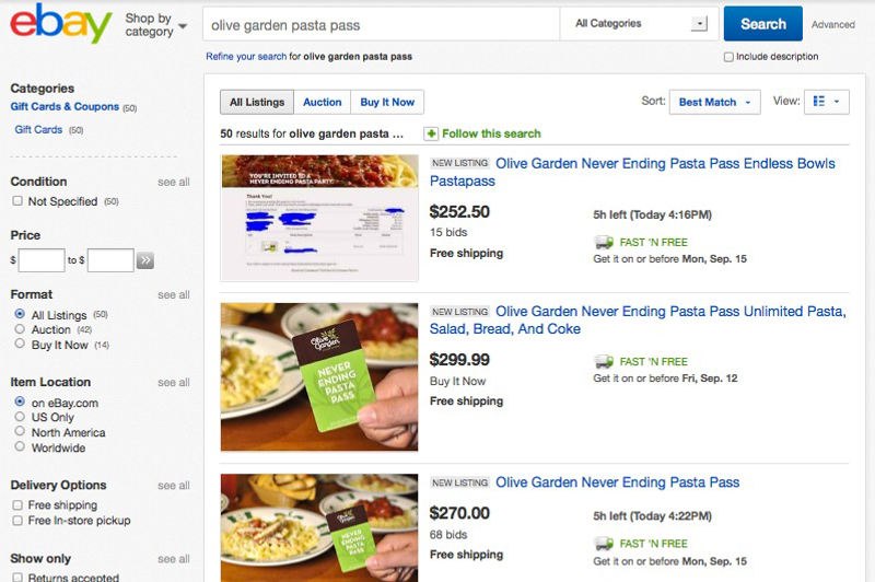 theres a thriving black market for olive gardens never ending pasta passes - Olive Garden Prices