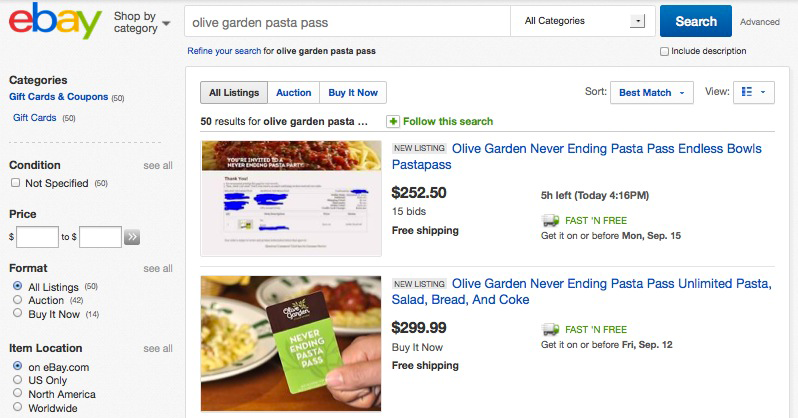 There S A Thriving Black Market For Olive Garden S Never Ending Pasta Passes Grub Street