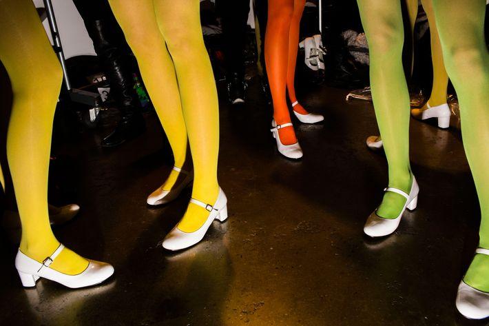 Neon tights at Jeremy Scott.