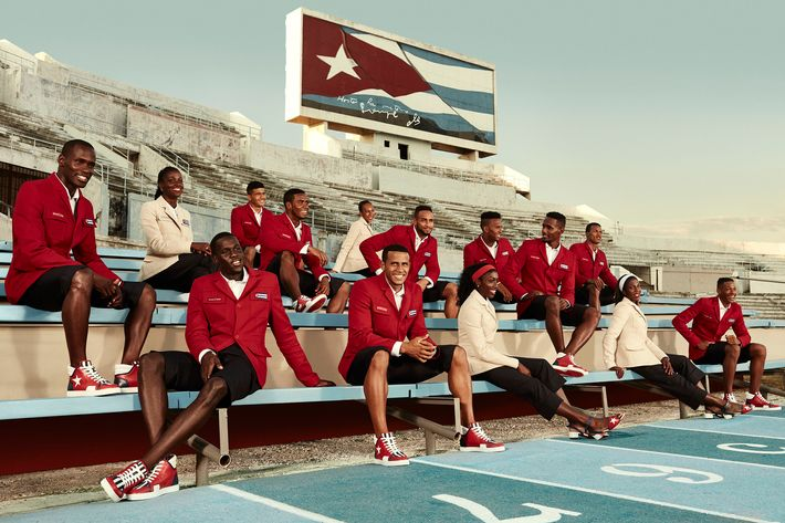 Cuba's Olympic team wearing the new collection.